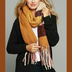 Accessories - 💗BLUSH & MUSTARD PLAID FRINGE SCARF💗